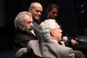 "(L to R) Director Mel Gibson, Actors Vince Vaughn and Luke Bracey and Medal of Honor recipient Col. Jack Jacobs participate in a Q&A panel discussion at the ""Hacksaw Ridge"" DC Screening at the Navy Memorial and Naval Heritage Center on October 28, 2016 in Washington, DC."