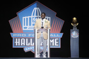 LaDainian Tomlinson speaks during the Pro Football Hall of Fame Enshrinement Ceremony at Tom Benson Hall of Fame Stadium on August 5, 2017 in Canton, Ohio.