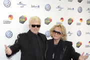 Heino and his wife Hannelore Kramm attend the Hall Of Fame gala at Deutsches Fussballmuseum on April 01, 2019 in Dortmund, Germany.