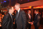 DFB President Reinhard Grindel and Philipp Lahm attend the Hall Of Fame gala at Deutsches Fussballmuseum on April 01, 2019 in Dortmund, Germany.