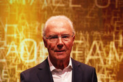 Franz Beckenbauer poses on stage during the Hall Of Fame gala at Deutsches Fussballmuseum on April 01, 2019 in Dortmund, Germany.