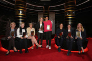 (L-R) Silvia Neid, Tina Theune, Silke Rottenberg, Renate Lingor, Steffi Jones, Inka Grings, Bettina Wiegmann and Nia Kuenzer poses with their awards during1 the Hall Of Fame gala at Deutsches Fussballmuseum on October 12, 2019 in Dortmund, Germany.