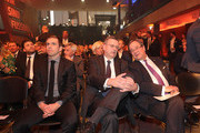 DFB President Reinhard Grindel,  Philipp Lahm and Armin Laschet attend the Hall Of Fame gala at Deutsches Fussballmuseum on April 01, 2019 in Dortmund, Germany.