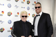 Heino and Oliver Roggisch attens the Hall Of Fame gala at Deutsches Fussballmuseum on April 01, 2019 in Dortmund, Germany.