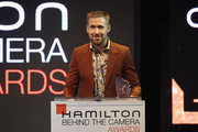 Ryan Gosling speaks onstage at the Hamilton Behind the Camera Awards presented by Los Angeles Confidential Magazine on November 4, 2018 in Los Angeles, California.  (Photo by Phillip Faraone/Getty Images for LA Confidential)