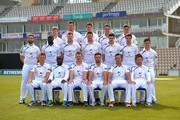 (Back Row) Adam Wheater, Joe Gatting, William Smith, Sean Terry, Michael Bates, (Middle Row) Tom Barber, Ruel Brathwaite, David Balcombe, James Tomlinson, Christopher Wood, Matthew Coles, Lewis McManus, (Front Row) Liam Dawson, Michael Carberry, Jimmy Adams, James Vince, Sean Ervine and Daniel Briggs pose for the camera's in their County kit during the Hampshire CCC Photcall at the Ageas Bowl on April 3, 2014 in Southampton, England.