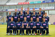 (Back Row) Adam Wheater, Joe Gatting, William Smith, Sean Terry, Michael Bates, (Middle Row) Tom Barber, Ruel Brathwaite, David Balcombe, James Tomlinson, Christopher Wood, Matthew Coles, Lewis McManus, (Front Row) Liam Dawson, Michael Carberry, Jimmy Adams, James Vince, Sean Ervine and Daniel Briggs pose for the camera's in their One Day kit during the Hampshire CCC Photcall at the Ageas Bowl on April 3, 2014 in Southampton, England.