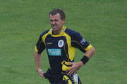 Dominic Cork of Hampshire leaves the field after rain stops play during the Clydesdale Bank 40 match between Hampshire and Leicestershire at The Rose Bowl on August 17, 2010 in Southampton, England.