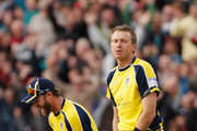 Sean Ervine (L) and Dominic Cork (R) of Hampshire react after the match goes to a super over during the Friends Life T20 semi final match between Hampshire and Somerset at Edgbaston on August 27, 2011 in Birmingham, England.