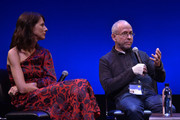 """Executive Producer Bob Balaban (R) and Actress Dolly Wells speak on stage during the Q&A for """"Can You Ever Forgive Me?"""" at Guild Hall during Hamptons International Film Festival 2018 - Day Four on October 7, 2018 in East Hampton, New York."""