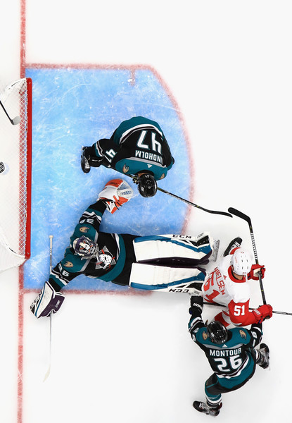 Detroit Red Wings v Anaheim Ducks [skier,illustration,extreme sport,ice hockey equipment,sports equipment,hampus lindholm 47,brandon montour 26,john gibson,frans nielsen,honda center,anaheim,california,anaheim ducks,detroit red wings,game]