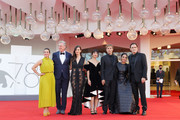 """(L-R) Nicole Ansari-Cox,  Christopher McDonald, Rebecca Comerford, Sheila Vand, William Moseley, Shirin Neshat and Matt Dillon attend the red carpet of the movie """"The Hand Of God"""" during the 78th Venice International Film Festival on September 02, 2021 in Venice, Italy."""