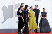 """(L-R) Sheila Vand, Christopher McDonald, Rebecca Comerford, Nicole Ansari-Cox, Matt Dillon AND Shirin Neshat attend the red carpet of the movie """"The Hand Of God"""" during the 78th Venice International Film Festival on September 02, 2021 in Venice, Italy."""