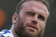Jamie Roberts of Bath Rugby receives a facial injury during the Gallagher Premiership Rugby match between Harlequins and Bath Rugby at Twickenham Stoop on September 15, 2018 in London, United Kingdom.