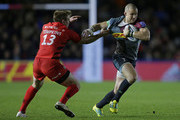 Mike Brown of Harlequins tackled by Nick Tompkins of Saracens during the Gallagher Premiership Rugby match between Harlequins and Saracens at Twickenham Stoop on October 6, 2018 in London, United Kingdom.