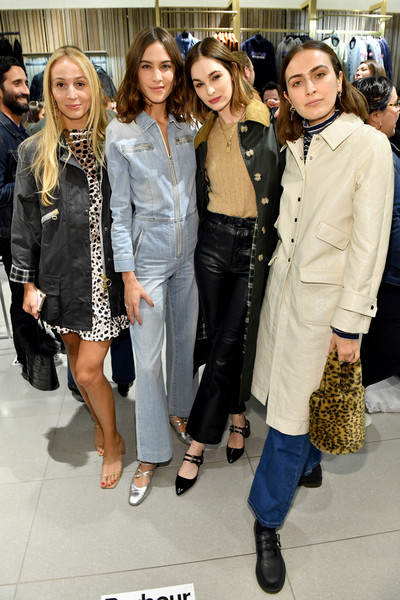 Alexa Chung Celebrates Barbour By ALEXACHUNG Fall 2019 Collection At Nordstrom [clothing,fashion,eyewear,event,footwear,outerwear,fashion design,street fashion,shoe,fashion accessory,alexa chung celebrates barbour by alexachung fall 2019 collection,alexa chung,harley viera-newton,rio viera-newton,laura love,l-r,new york city,nordstrom,barbour by alexachung fall 2019 collection celebration]