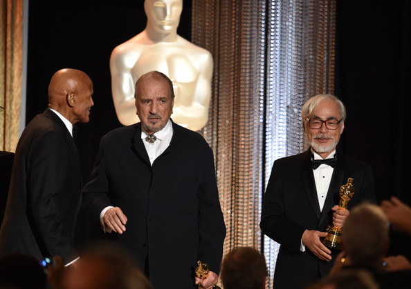 Academy Of Motion Picture Arts And Sciences' Governors Awards - Show [event,formal wear,suit,honorees,hayao miyazak,jean-claude carriere,harry belafonte,l-r,hollywood highland center,california,academy of motion picture arts and sciences,governors awards,show]