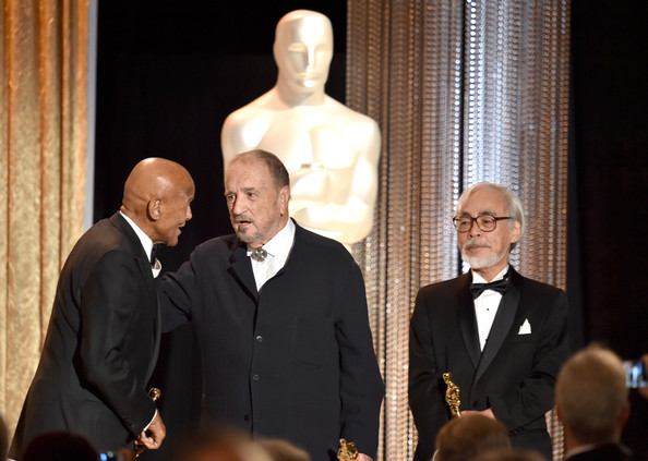 Academy Of Motion Picture Arts And Sciences' Governors Awards - Show [event,formal wear,suit,ceremony,gesture,tourism,honorees,hayao miyazak,jean-claude carriere,harry belafonte,l-r,hollywood highland center,california,academy of motion picture arts and sciences,governors awards,show]