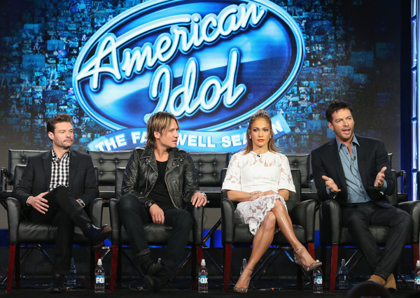 2016 Winter TCA Tour - Day 11 [american idol,event,performance,talent show,television program,company,stage,performing arts,stage equipment,winter tca,keith urban,ryan seacrest,harry connick jr.,jennifer lopez,l-r,langham huntington hotel,panel discussion,winter tca tour]