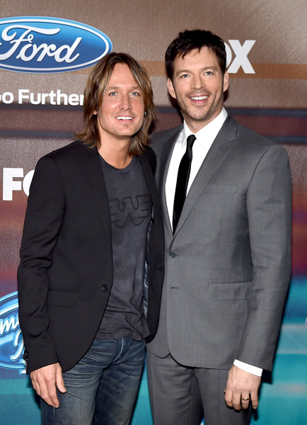 'American Idol XIV' Finalist Party [suit,formal wear,premiere,tuxedo,event,outerwear,white-collar worker,carpet,party - arrivals,keith urban,harry connick jr.,american idol xiv,california,los angeles,the district,fox,l,finalist party]