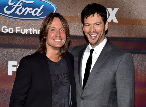 'American Idol XIV' Finalist Party [suit,event,premiere,smile,formal wear,white-collar worker,tuxedo,party - arrivals,keith urban,harry connick jr.,american idol xiv,california,los angeles,the district,fox,l,finalist party]