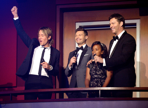FOX's 'American Idol' Finale For The Farewell Season - Show [american idol finale for the farewell season - show,suit,event,fun,formal wear,performance,smile,tuxedo,television program,gesture,keith urban,ryan seacrest,audience,singers,l-r,dolby theatre,california,hollywood,fox]