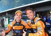 Harry Kewell of the Melbourne Victory A-League team poses with with Ford Performance Racing Team driver Will Davison at the L&H 500 for round nine of the V8 Supercar Championship Series at Phillip Island Grand Prix Circuit on September 18, 2011 in Phillip Island, Australia.