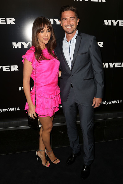 Myer Autumn Winter 2014 Fashion Launch -  Arrivals [suit,pink,event,fashion,premiere,formal wear,cocktail dress,dress,muscle,tuxedo,australia,melbourne,myer mural hall,myer autumn winter 2014 fashion launch,harry kewell,sheree murphy,arrivals,r]