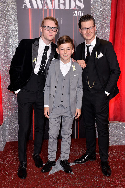 British Soap Awards - Red Carpet Arrivals [suit,formal wear,tuxedo,carpet,red carpet,event,premiere,flooring,tie,bow tie,red carpet arrivals,jamie borthwick,harry reid,bleu landau,british soap awards,l-r,the lowry theatre,england,manchester,itv]