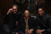 From L-R - Mohamed Hadid, Quincy Jones and Scottie Pippen attend the Haute Living celebration of Quincy Jones with Rolls-Royce and LOUIS XIII at Mr Chow on February 07, 2019 in Beverly Hills, California.