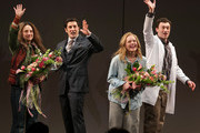 """Actors Tracee Chimo, Jason Biggs, Elisabeth Moss and Bryce Pinkham take a bow at the curtain call for """"The Heidi Chronicles"""" Broadway Opening Night at The Music Box Theatre on March 19, 2015 in New York City."""