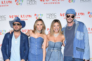 (L-R) Chris Knight, Keltie Knight, Vanessa Ray, and Jake Wilson attend Heidi Klum's 18th annual Halloween Party presented by Party City at the Magic Hour Rooftop Bar & Lounge on October 31, 2017 in New York City.