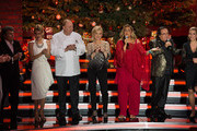 Matze Knop (L-R), Andy Borg, Ella Endlich, Alfons Schuhbeck, Carmen Nebel, Romina Power, Al Bano Carrisi and Stefanie Hertel attend the taping of the TV show 'Heiligabend mit Carmen Nebel' on November 27, 2014 in Munich, Germany.