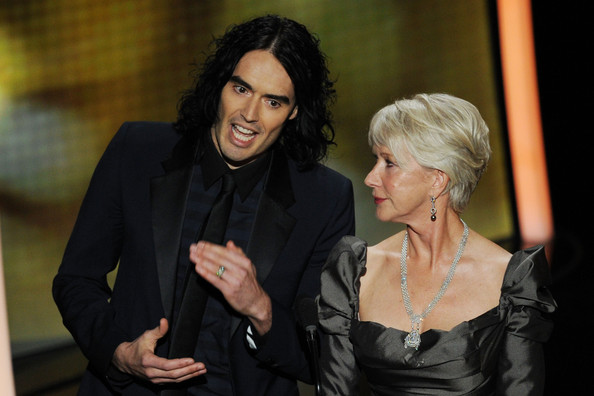 Helen Mirren Presenters Russell Brand and Helen Mirren present onstage during the 83rd Annual Academy Awards held at the Kodak Theatre on February 27, 2011 in Hollywood, California.