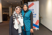 A fan and Ibtihaj Muhammad during the VIP cocktail party at the Hello Sunshine x Together Live show at Bluma Appel Theatre on November 6, 2018 in Toronto, Canada.