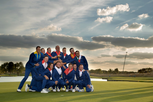 2018 Ryder Cup - Singles Matches [sky,social group,team,cloud,golf,sport venue,friendship,competition event,recreation,golf course,victory,trophy,france,paris,le golf national,european team,ryder cup,matches,matches]