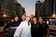 """(L-R) Andrew """"Beef"""" Johnston, Matt Wallace of England, Justin Rose of England, Thomas Bjorn of Denmark, Thorbjorn Olesen of Denmark and Paul Dunne of Ireland pose for a selfie during the Hero Challenge at Canary Wharf on October 9, 2018 in London, England."""