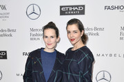 (L-R) Saralisa Volm and Susan Hoecke attend the Hien Le show during the Mercedes-Benz Fashion Week Berlin A/W 2017 at Kaufhaus Jandorf on January 17, 2017 in Berlin, Germany.