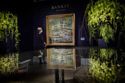 Banksy's 'Show me the Monet' est.   £3-5 million, goes on view at Sotheby's on October 16, 2020 in London, England. The artwork is one of the highlights of Sotheby's livestreamed Contemporary Art Evening Auction taking place on 21st October 2020.