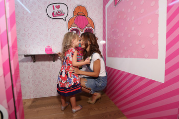"""Hilaria Baldwin Carmen Baldwin Hilaria Baldwin Hosts Launch of L.O.L. Surprise! Unboxing Video Booth And L.O.L. Surprise! Pets at Toys """"R"""" Us, NYC"""