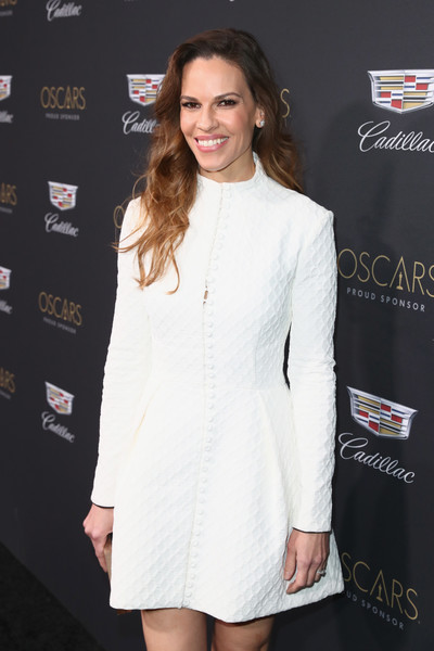 Cadillac Celebrates Oscar Week 2019 [clothing,white,fashion,dress,cocktail dress,suit,premiere,formal wear,outerwear,lip,hilary swank,chateau marmont,california,los angeles,cadillac celebrates oscar,cadillac oscar week celebration]