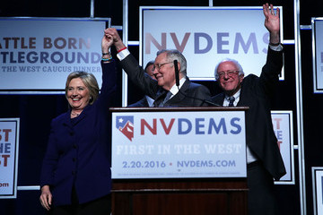 Hillary Clinton Bernie Sanders Democratic Presidential Candidates Attend First in the West Caucus Dinner