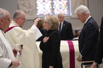 Hillary Clinton Bill Clinton Funeral Mass Held For Rep. John Dingell At D.C.'s Holy Trinity Catholic Church