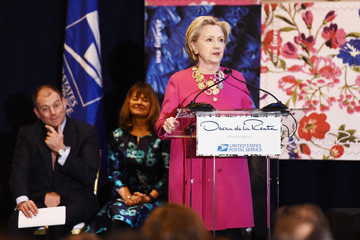 Hillary Clinton Oscar de la Renta Forever Stamp First-Day-Of-Issue Stamp Dedication Ceremony