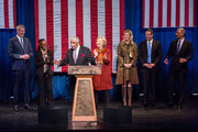 (L-R)  New York City Mayor Bill de Blasio, First Lady of New York City Chirlane McCray, U.S. Rep. Charlie Rangel (D-NY13),  Democratic presidential candidate and former U.S. Secretary of State Hillary Clinton, television personality Sandra Lee, New York Governor Andrew Cuomo and U.S. Attorney General Eric Holder are seen on stage before Clinton's address at the Schomburg Center for Research in Black Culture on February 16, 2016 in New York City. Clinton is hoping to win the upcoming South Carolina and Nevada primaries.