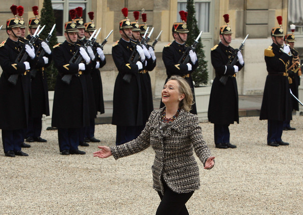 Hillary Clinton U.S. Secretary of State Hillary Clinton arrives before a crisis summit on Libya at Elysee Palace on March 19, 2011 in Paris, France. Britain and France took the lead in plans to enforce a no-fly zone over Libya on Friday, sending British warplanes to the Mediterranean and announcing a crisis summit in Paris with the U.N. and Arab allies.