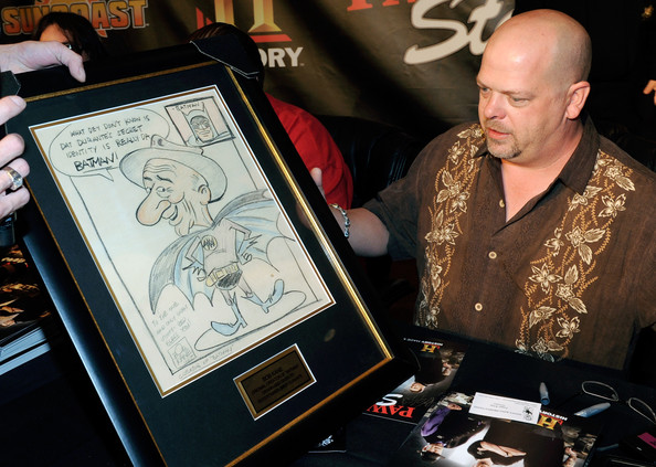 "Rick Harrison from History's ""Pawn Stars"" television series examines a"