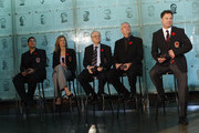 (L-R) Angela James, Cammi Granato, Jimmy Devellano, Bob Seaman (representing Doc Seaman), and Dino Ciccarelli, appear at a media opportunity prior to their induction ceremony to the Hockey Hall of Fame on November 8, 2010 in Toronto, Canada.