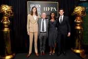(L-R) Golden Globe Ambassador Dylan Brosnan, Hollywood Foreign Press Association President Lorenzo Soria, outgoing Golden Globe Ambassador Isan Elba, and Golden Globe Ambassador Paris Brosnan pose onstage during the Hollywood Foreign Press Association and The Hollywood Reporter Celebration of the 2020 Golden Globe Awards Season and Unveiling of the Golden Globe Ambassadors at Catch on November 14, 2019 in West Hollywood, California.