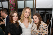 (L-R) Kaitlyn Dever, Olivia Wilde, and Beanie Feldstein attend the Hollywood Foreign Press Association and The Hollywood Reporter Celebration of the 2020 Golden Globe Awards Season and Unveiling of the Golden Globe Ambassadors at Catch on November 14, 2019 in West Hollywood, California.